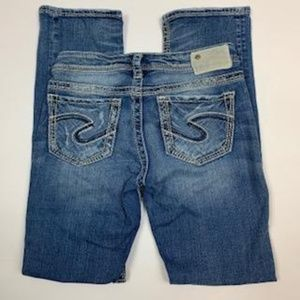 Silver AIKO Distressed Straight Leg Jeans